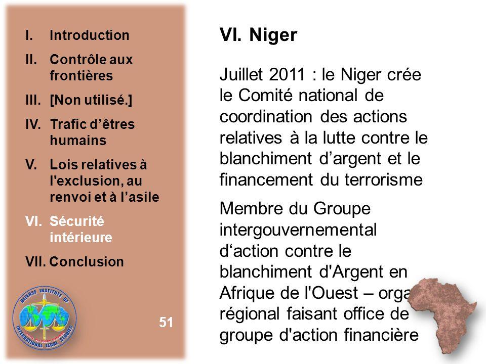 VI. Niger I. Introduction. II. Contrôle aux frontières. III. [Non utilisé.] IV. Trafic d'êtres humains.